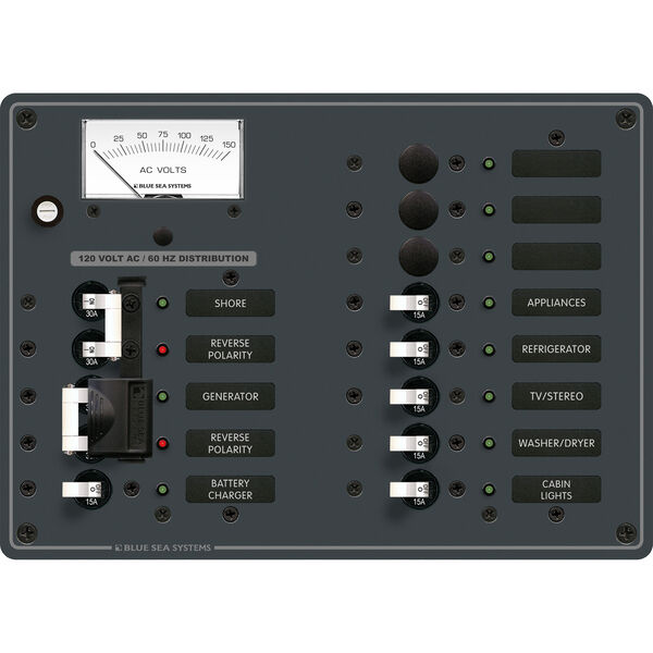 Blue Sea Systems 120V AC 2 Sources +9 Positions Panel