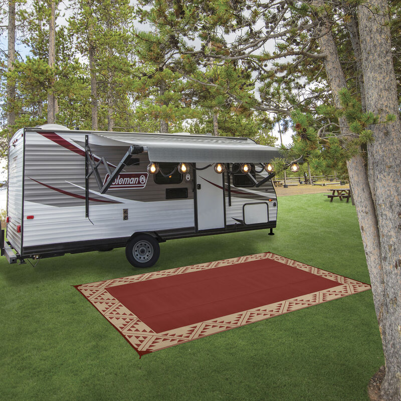 Reversible RV Patio Mat with Aztec Border Design image number 13