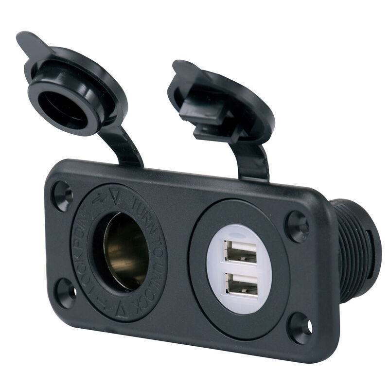 Marinco SeaLink Deluxe Dual USB Charger And 12V Receptacle image number 1