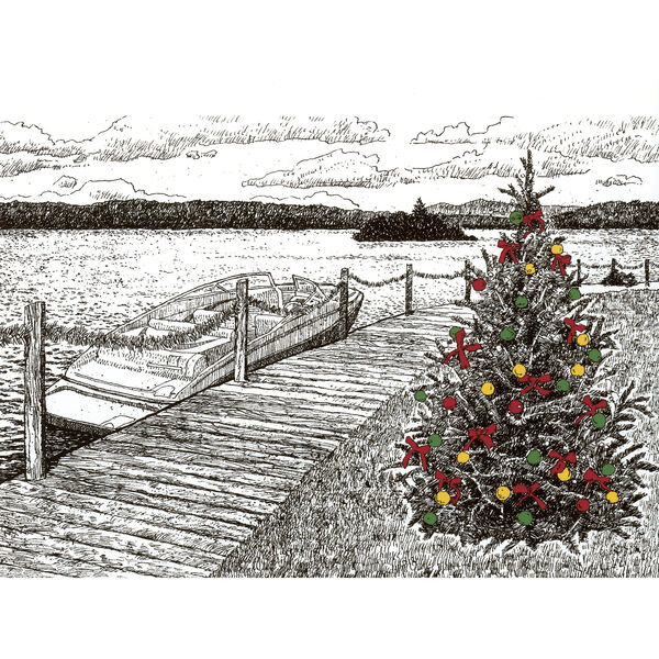 Personalized Cards<br>Lakeside Boardwalk Holiday Greeting Cards