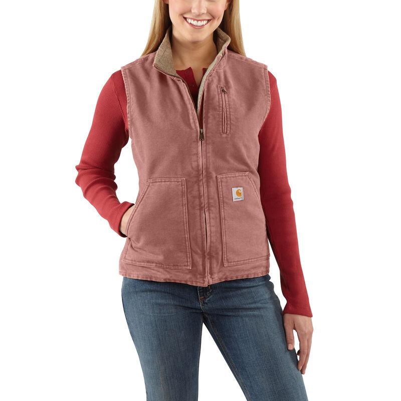 Carhartt Women's Sandstone Sherpa-Lined Mock-Neck Vest image number 1