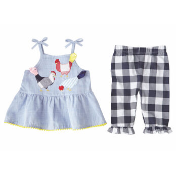 Mud Pie Girls' Farmhouse Tunic & Capri Set