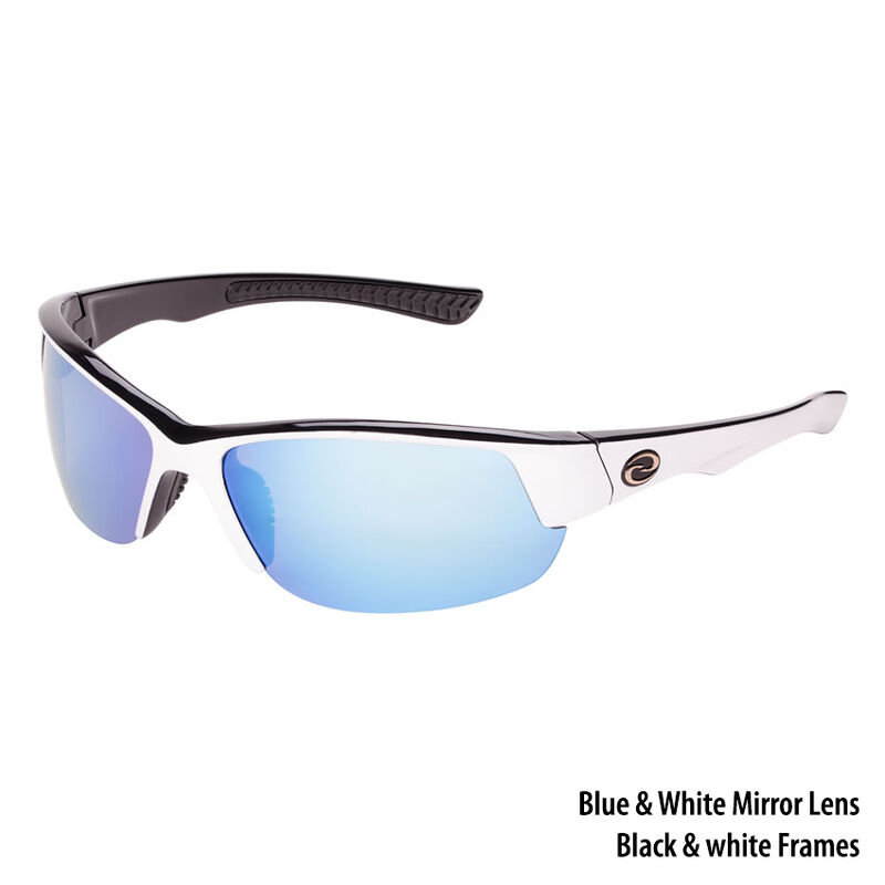 Strike King S11 Okeechobee Sunglasses - White-Black Frame/White-Blue Mirror Lens image number 1