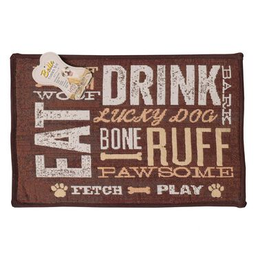 """Dog Day Expressions Design Pet Food & Water Bowl Mat, 12.75"""" x 19"""", Brown"""