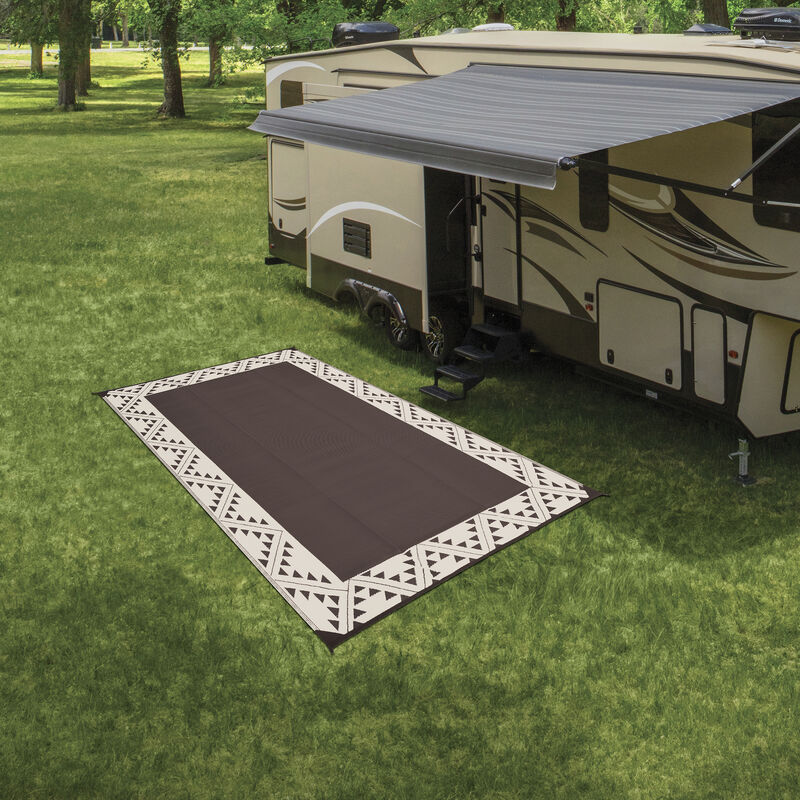 Reversible RV Patio Mat with Aztec Border Design image number 22