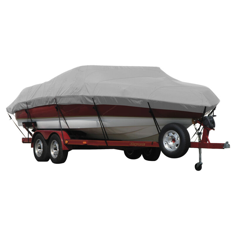 Exact Fit Covermate Sunbrella Boat Cover for Tracker Party Barge 21 Signature Party Barge 21 Signature W/Bimini Laid Aft O/B image number 6