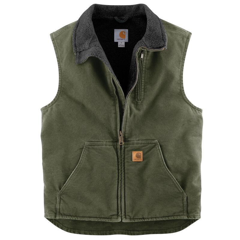 Carhartt Men's Sandstone Sherpa-Lined Mock-Neck Vest image number 6