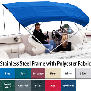 Shademate Polyester Stainless 4-Bow Bimini Top 8'L x 54''H 54''-60'' Wide