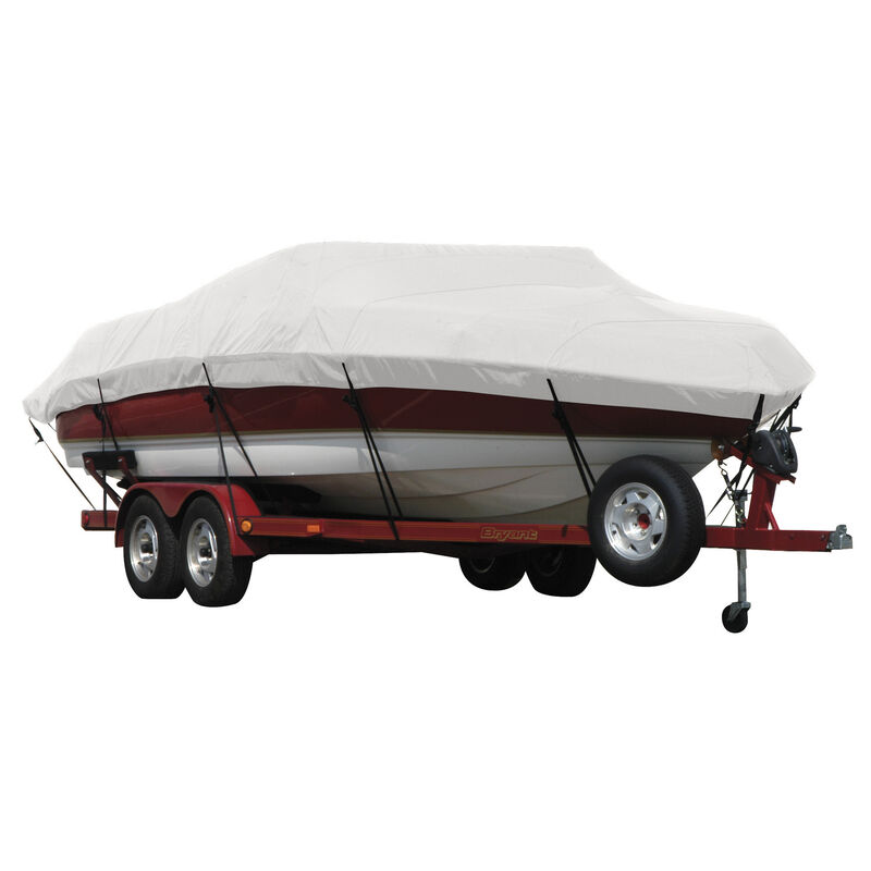 Exact Fit Covermate Sunbrella Boat Cover for Tracker Party Barge 21 Signature Party Barge 21 Signature W/Bimini Laid Aft O/B image number 10