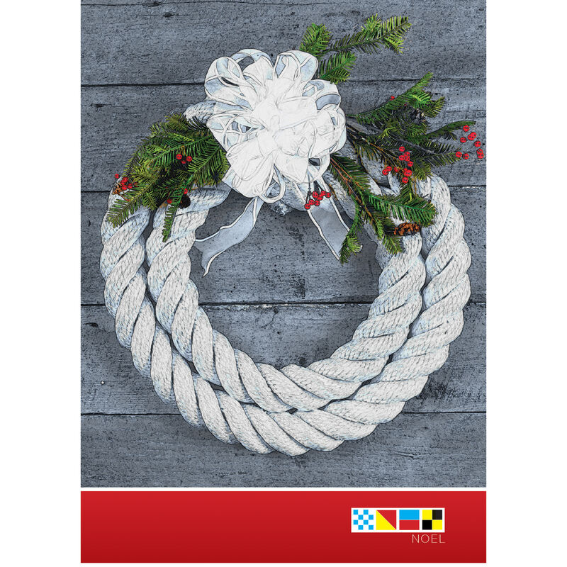 Personalized Christmas Wreath Rope Christmas Cards image number 1