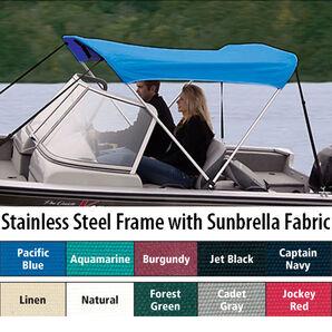 Shademate Sunbrella Stainless 2-Bow Bimini Top 5'6''L x 42''H 54''-60'' Wide