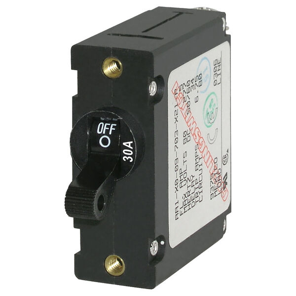 Blue Sea Circuit Breaker A-Series Toggle Switch, Single Pole, 30A, Black