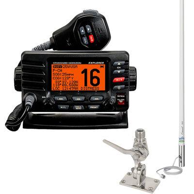 Standard Horizon Explorer GX1600 VHF Radio Package, Black, w/Antenna & SS Mount