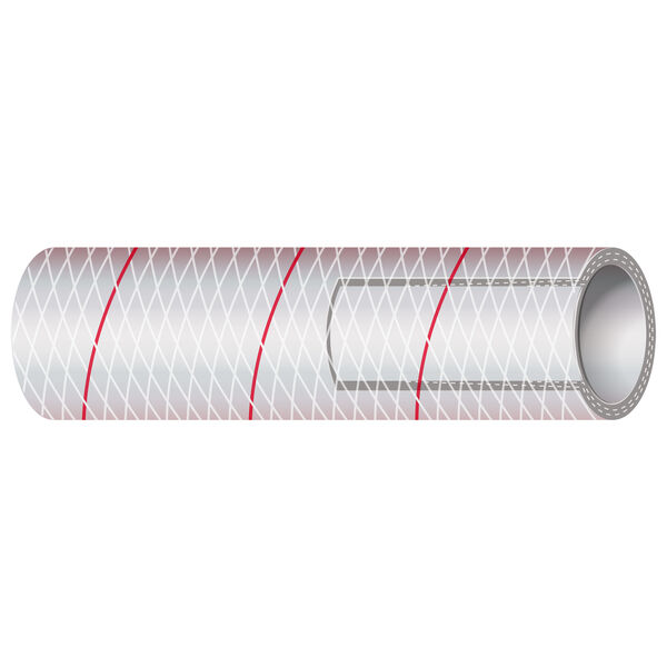 "Shields 1"" Polyester-Reinforced Red-Tracer Tubing, 50'L"