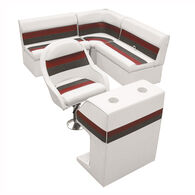 Deluxe Pontoon Furniture w/Classic Base - Rear Group Package D, White/Red/Charco