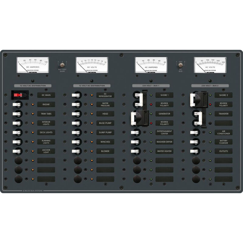 Blue Sea AC (2 Sources)/DC Main Toggle Circuit Breaker Panel (230V European AC) image number 1