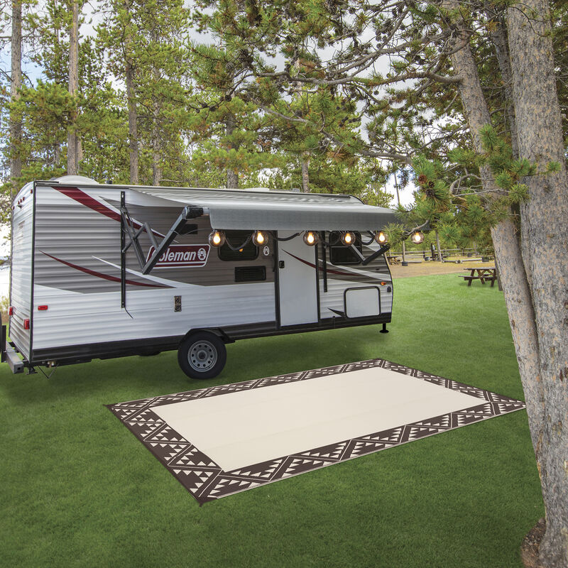 Reversible RV Patio Mat with Aztec Border Design image number 18