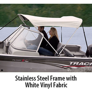 Shademate White Vinyl Stainless 2-Bow Bimini Top 5'6''L x 42''H 47''-53'' Wide