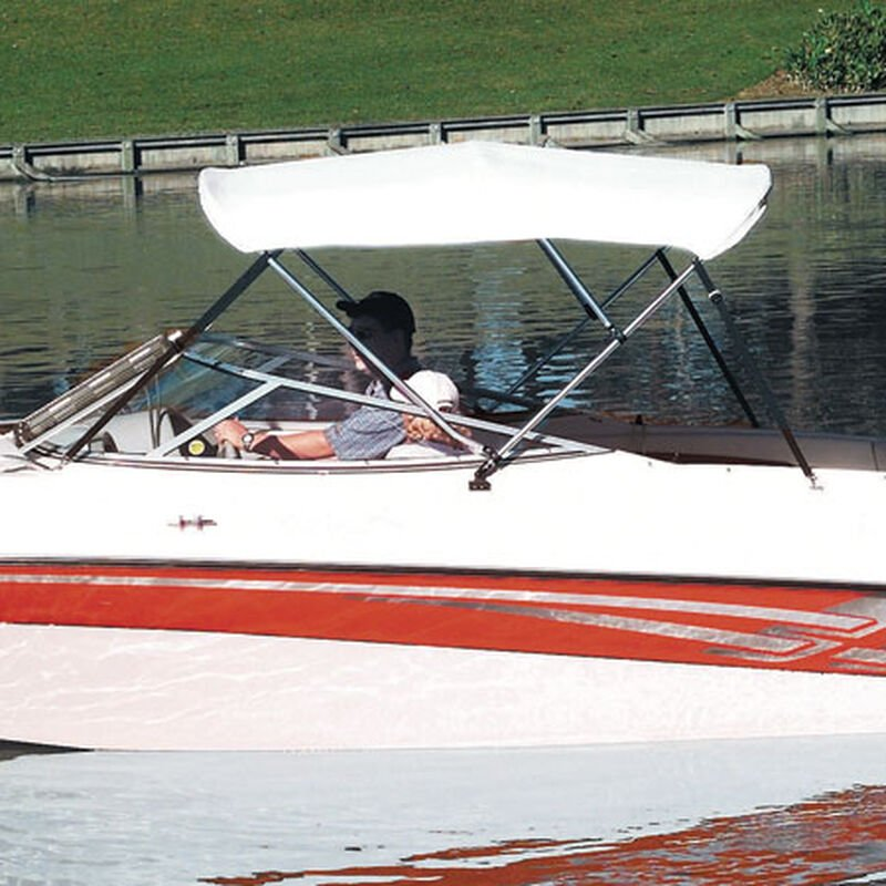 """Shademate White Vinyl 3-Bow Bimini Top, 5'L x 32""""H, 79""""-84"""" Wide image number 1"""