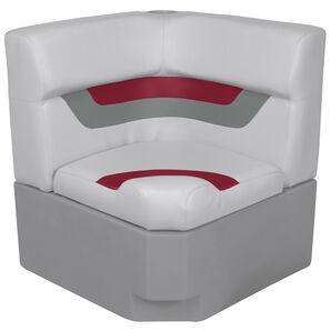 Toonmate Designer Pontoon Corner Section Seat - TOP ONLY - Sky Gray/Dark Red