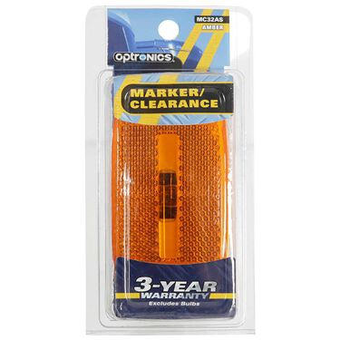 Rectangular Reflector/Clearance/Marker Light - twist-in socket; Amber