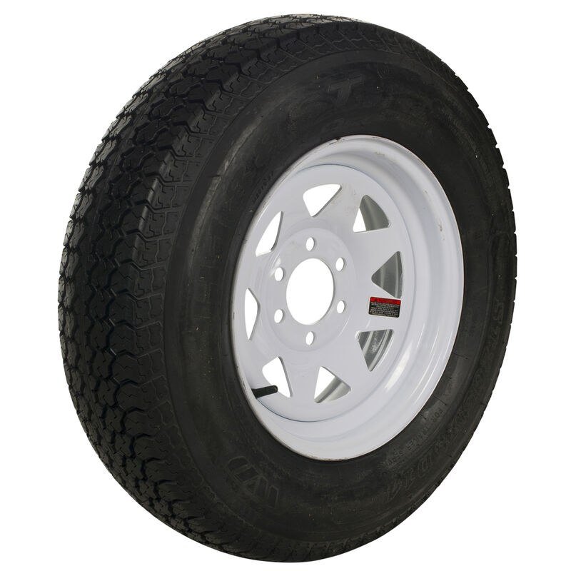 Tredit H188 225/75 x 15 Bias Trailer Tire, 6-Lug Spoke White Rim image number 1