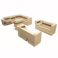 "Deluxe Pontoon Furniture w/Toe Kick Base, Complete Big ""L"" Package, Sand/Chestnu"