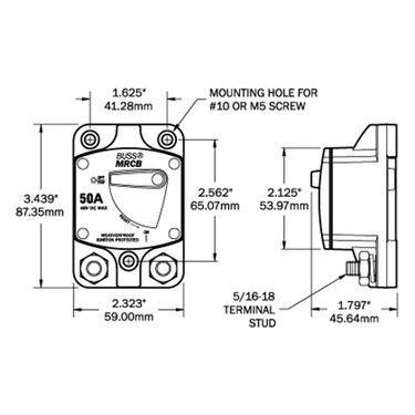 Blue Sea 187-Series Thermal Circuit Breaker, Panel-Mount, 30A