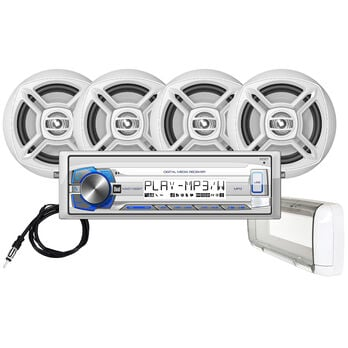 "Dual MCP1364BTS Digital Media Bluetooth Receiver Package With Four 6.5"" Speakers"