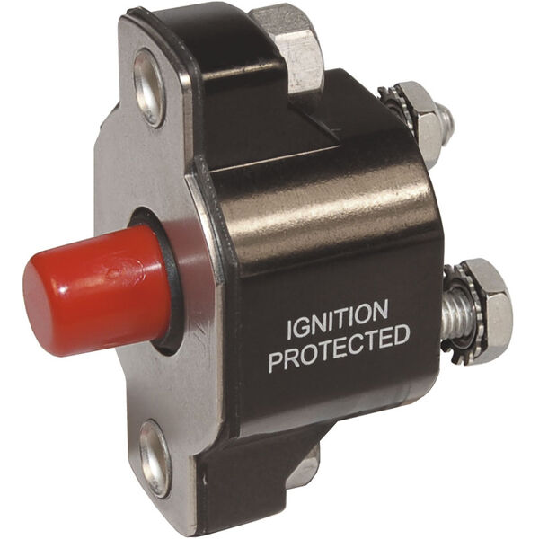 Blue Sea Systems Medium-Duty Push-Button Reset-Only Circuit Breaker, 15 Amps