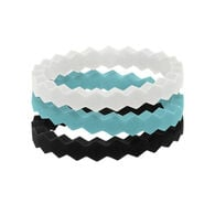 QALO Women's Stackable Collection B Silicone Wedding Ring Set