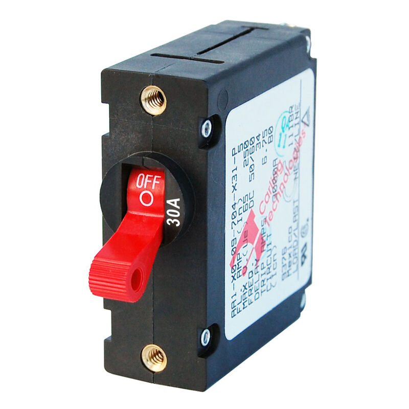 Blue Sea Circuit Breaker A-Series Toggle Switch, Single Pole, 30A, Red image number 1