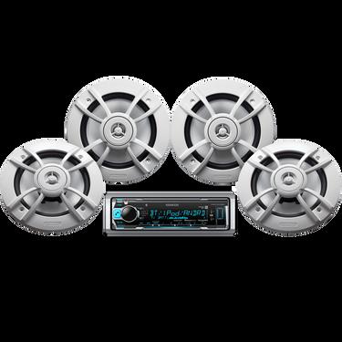 """Kenwood KMR-M318BT Marine Media Bluetooth Receiver Package w/Four 6.5"""" Speakers"""