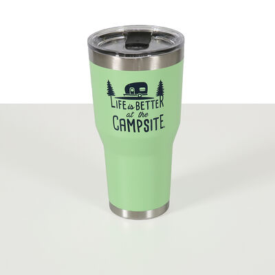Life is Better at the Campsite Insulated Tumbler, Green, 30 oz.