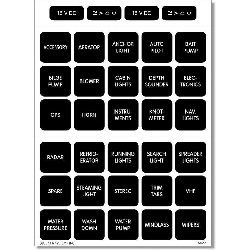 Blue Sea 4215 Square Format DC Panel Label Set, 30 labels image number 1