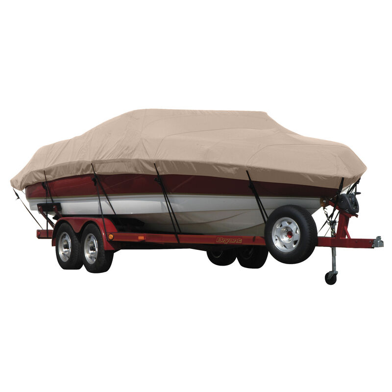 Exact Fit Covermate Sunbrella Boat Cover for Tracker Party Barge 21 Signature Party Barge 21 Signature W/Bimini Laid Aft O/B image number 8