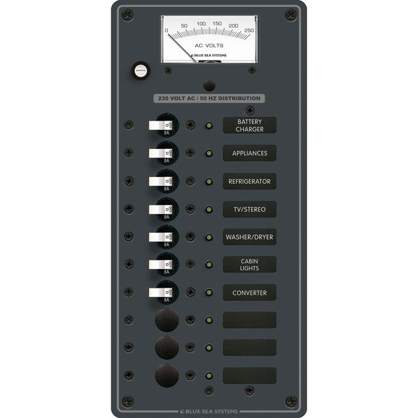 Blue Sea Systems AC 10 Position Panel (European)