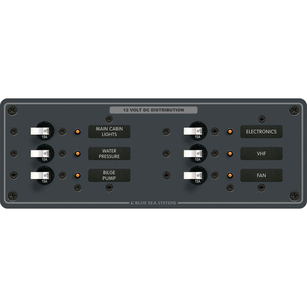 Blue Sea Systems Traditional Metal Panel, DC 6 Positions