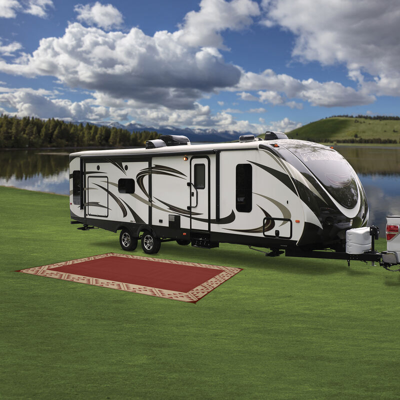 Reversible RV Patio Mat with Aztec Border Design image number 15