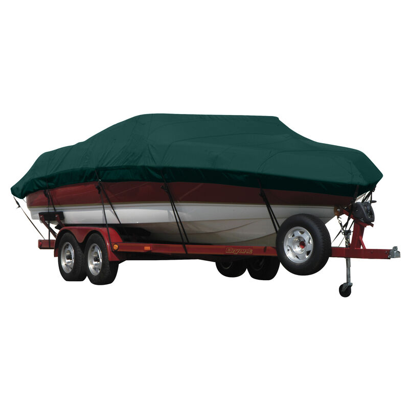 Exact Fit Covermate Sunbrella Boat Cover for Tracker Party Barge 21 Signature Party Barge 21 Signature W/Bimini Laid Aft O/B image number 5