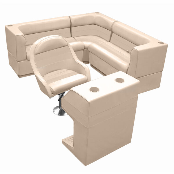 Deluxe Pontoon Furniture w/Toe Kick Base - Rear Group 4 Package, Sand