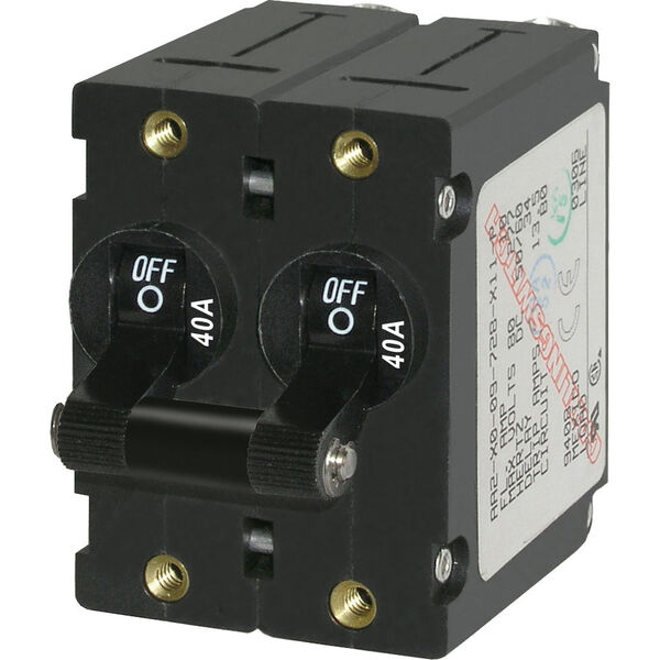 Blue Sea AC Circuit Breaker A-Series Toggle Switch, Double Pole, 40A, Black