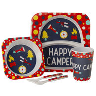 Kid's Happy Camper Food Tray Set, Red/Navy