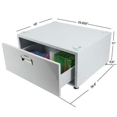 """Washer Pedestal with Drawer, Silver, 11.5"""""""