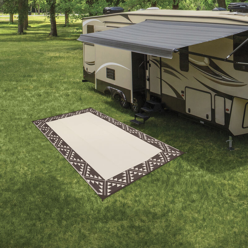 Reversible RV Patio Mat with Aztec Border Design image number 19