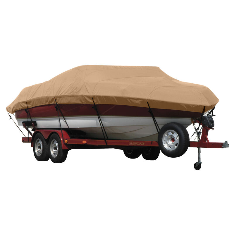 Exact Fit Covermate Sunbrella Boat Cover for Tracker Party Barge 21 Signature Party Barge 21 Signature W/Bimini Laid Aft O/B image number 1
