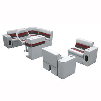 Deluxe Pontoon Furniture w/Classic Base - Complete Boat Package H, Gray/Red/Char