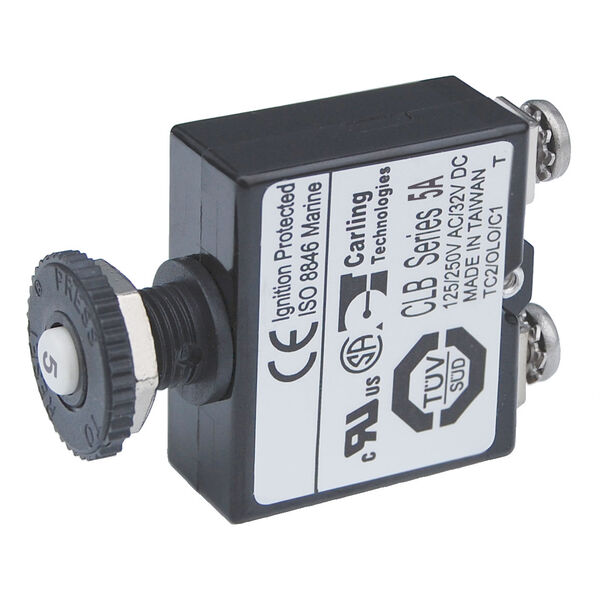 Blue Sea Systems Push-Button Reset-Only Screw Terminal Circuit Breaker, 5 Amps
