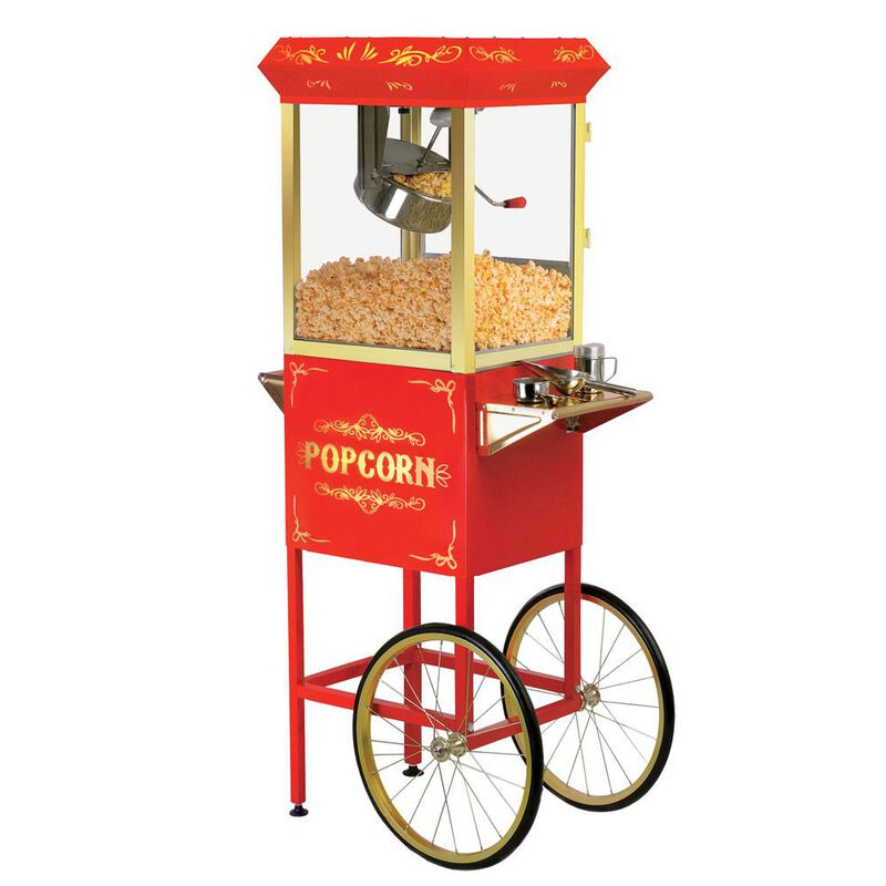 Elite Old Fashioned Popcorn Trolley with Accessories image number 1