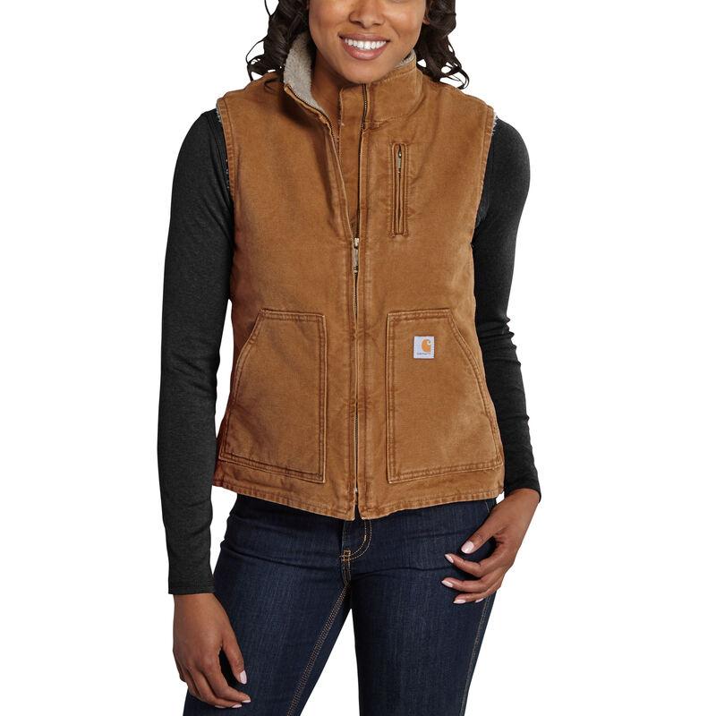 Carhartt Women's Sandstone Sherpa-Lined Mock-Neck Vest image number 2